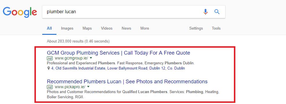 google adwords listing