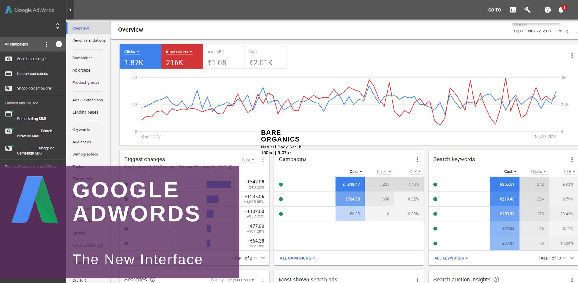 google adwords new interface